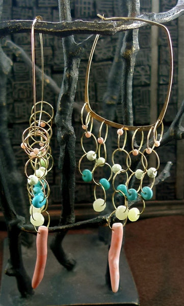 Melissa Joy Manning 14K Yellow Gold, Turquoise and Coral Hoop Earrings