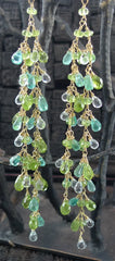 Cameron Cohen Long Cluster Earrings of Peridot and Apatite Stones