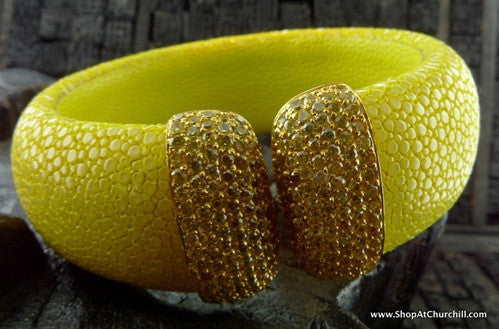 Royal Imports Stingray Cuff - Yellow with Gold CZ Crystals