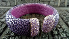 Royal Imports Stingray Cuff - Purple with Purple Crystals