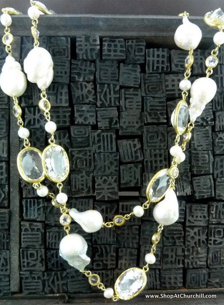 Royal Imports Oval Faceted White Topaz and Pearl Necklace in Gold Vermeil