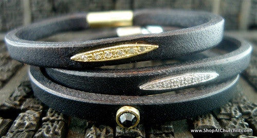 Alexa Garner Sidaris Leather Bracelet with Black Diamond Stud