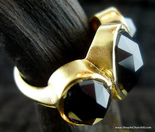 Alexa Garner Sidaris Faceted Black Onyx Ring