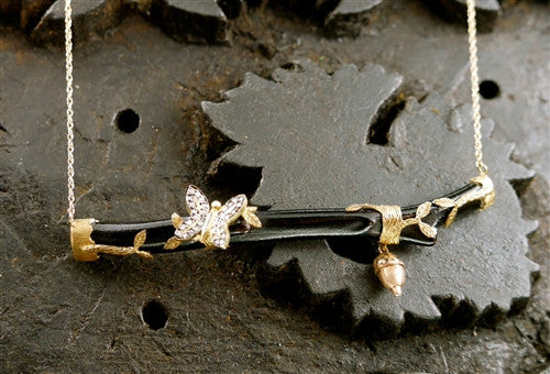 Pade Vavra 18K Yellow Gold Necklace with Black Coral Branch, Diamond Butterfly, and 18K Gold Acorn