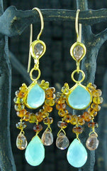Nava Zahavi 24 K Yellow Gold, Blue Chalcedony, and Tourmaline Earrings