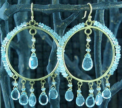 Sonya Ooten Aquamarine Studded Hoop Earrings with Briolette Drops in 14K Gold