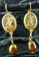 Extasia Pate De Verre Gold Plated Intaglio with Bronze Pearl Drop Earring