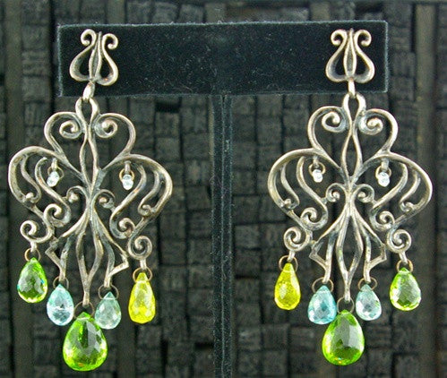 Marisa Perry Sterling Silver Citrine, Peridot and Blue Topaz Earrings