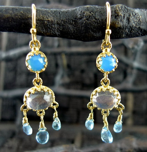 Becky Kelso 18K Yellow Gold and Blue Topaz Earrings