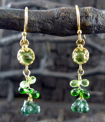 Becky Kelso 18K Yellow Gold and Green Tourmaline Earrings