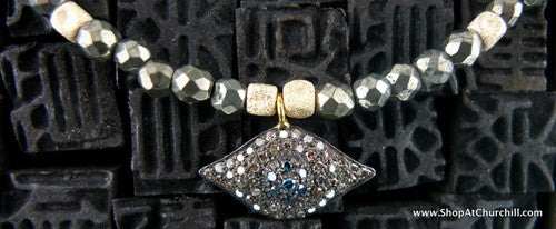Catherine Michiels Diamond Evil Eye Necklace on Pyrite Beads with 14K Gold Accents