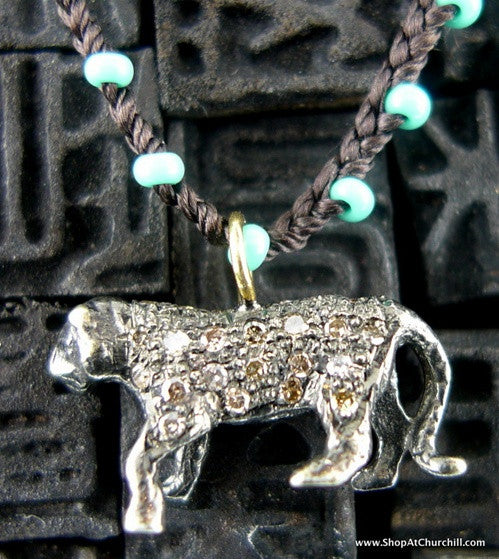Catherine Michiels Small Oxidized Diamond Tiger on Beaded Cord Necklace