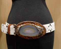 Malini Murjani White Cowhide Studded Belt with Agate Slice Buckle