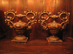 Antique Gessoed Italian Candlesticks/Lamp Bases