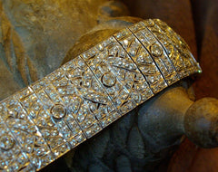 Wide Platinum and Diamond Estate Art Deco Bracelet
