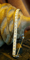 Estate Vintage 1940s  Platinum and Diamond Line Bracelet