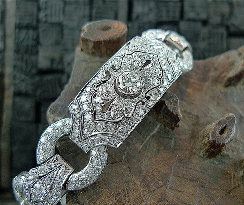 Estate 18K White Gold and Diamond Art Deco Link Bracelet