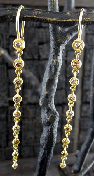 Annie Fensterstock 18K Yellow Gold and Fancy Colored Diamond Waterfall Earrings