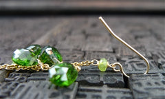 "Emily and Ashly ""Greenbeads"" Green Tourmaline and 14K Yellow Gold Filled Earrings"