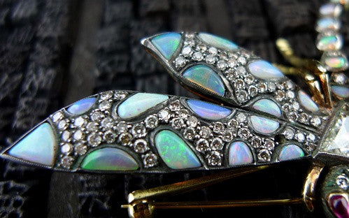 Art Nouveau Opal and Diamond Dragonfly Brooch in 18K Yellow Gold and Silver