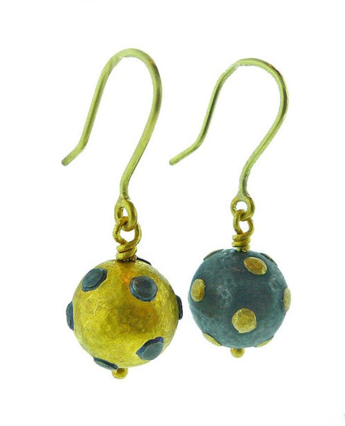 Yossi Harari 24K Yellow Gold and Blackened Gilver Libra Freckle Drop Earrings