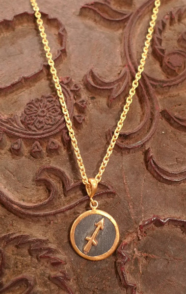 Yossi Harari Mica Chain Necklace in  24K Gold (Shown with Sagittarius Charm)