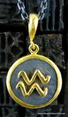 Yossi Harari 24K Yellow Gold and Oxidized Gilver Astrological Sign Pendant, Aquarius