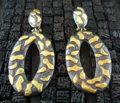Yossi Harari 24K Yellow Gold and Blackened Gilver Libra Chandelier Earrings