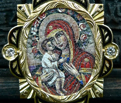 Russian MicroMosaic Madonna & Child Pendant in 18K Yellow Gold and Diamonds