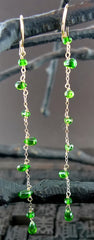 Sonya Ooten Polished Chrome Diopside Drop Earrings in 14K Yellow Gold
