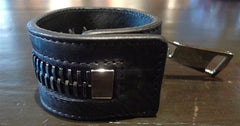 Ronald Pineau Calf Skin Black Zipper Magnet Bracelet (Gun)