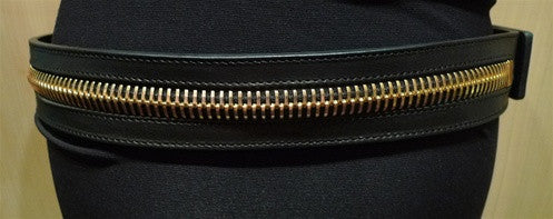 Ronald Pineau Zipper Calf Skin Belt (Oro)