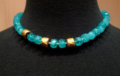 Nava Zahavi Ocean Sky Ancient Glass Bead and 22K Yellow Gold Necklace