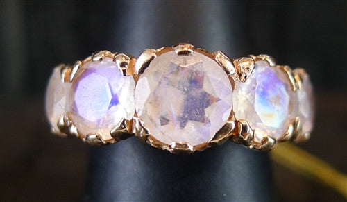 Nava Zahavi Rainbow Moonstone Ring in 14K Rose Gold Israeli Designer