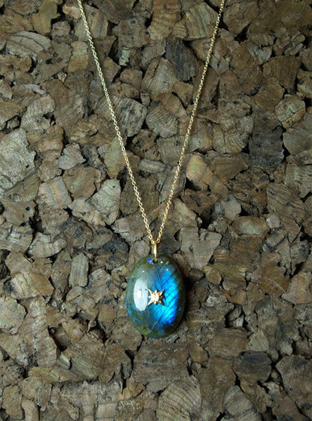 Emily and Ashley (Greenbeads) Labradorite Pendant Necklace with Diamond Accent in 14K Yellow Gold