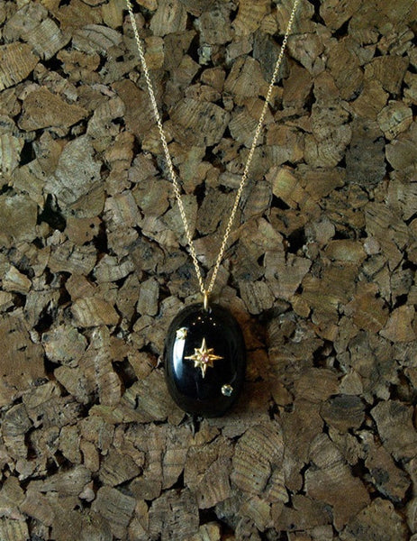 Emily & Ashley Sapphire Studded Onyx Oval Pendant Necklace in 14K Yellow Gold