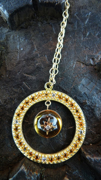 Emily and Ashley Citrine and  Diamond Necklace in 14K Yellow Gold