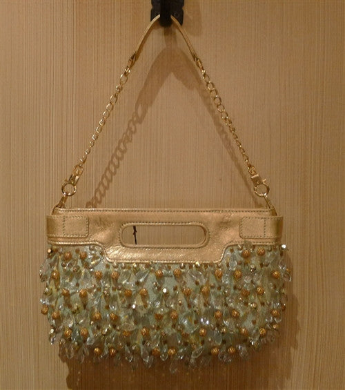 Rafe Beaded Purse in Mint and Gold