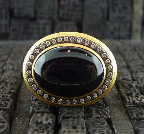 Yossi Harari 24K Gold Janie Onyx and Pave Diamond Ring