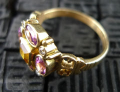 Julie Baker Pink Tourmaline, Citrine and Diamond Ring in 18K Yellow Gold