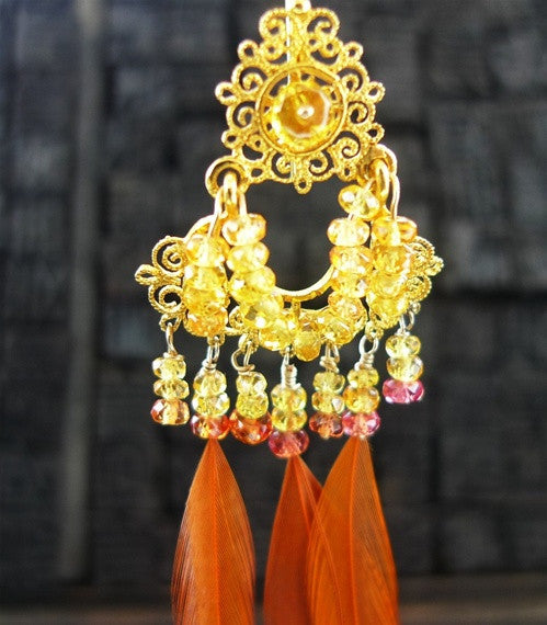 Pade Vavra 18K Yellow Gold with Orange Sapphire and Feather Earring