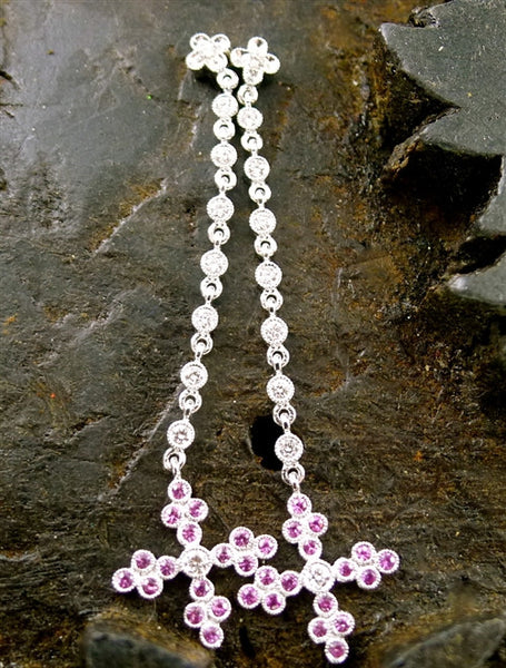 Beverly K 18K White Gold, Pink Sapphire and Diamond Cross Earrings