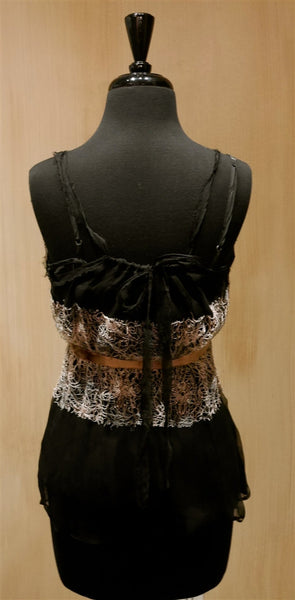Harkham Silk Cami Top with Lace Overlay