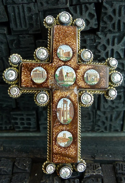 Venetian Micromosaic Cross in 18K Yellow Gold and Diamonds