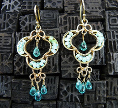 Becky Kelso 14K Yellow Gold, Blue Topaz, and Chalcedony Earrings
