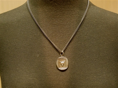 Pyrrha Fox Head Heavy Chain Necklace in Sterling Silver