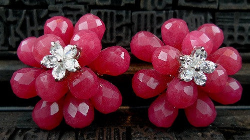 Siman Tu Ruby and CZ Flower Earring