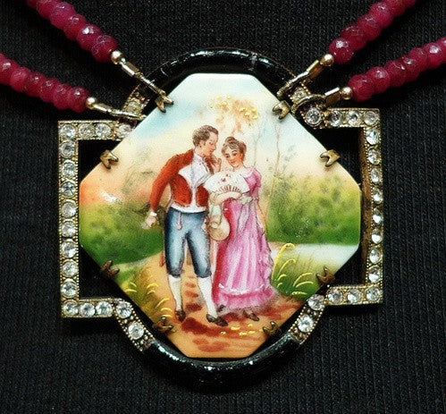 Faith Designs Ruby and Vintage Buckle Necklace