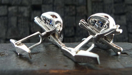 Atelier Minyon 18K White Gold and Sapphire Skull Cufflinks