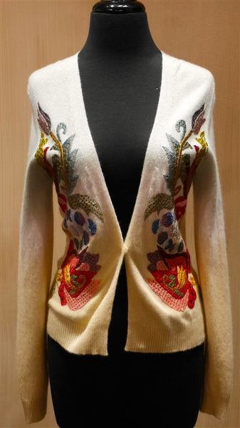 AndCake Long-Sleeve Cream Ombre Embroidered Cardigan Sweater
